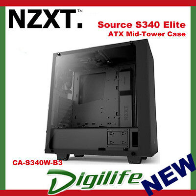 NZXT Source S340 Elite ATX Mid-Tower Case Matte Black CA-S340W-B3