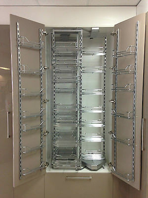 NEW Large Chrome pull out/folding Kitchen cupboard pantry system/storage.