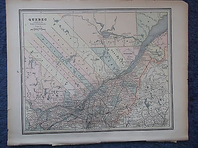 Antique Original 1886  Quebec  or  New Brunswick & Nova Scotia   Multicolor Map
