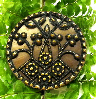 Nice Victorian Buffed Celluloid Button With Metal Foliate Overlay Y40