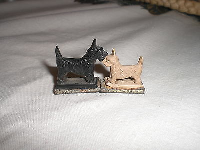 2 Vintage Miniature  White and Black Scottie dogs on Magnets