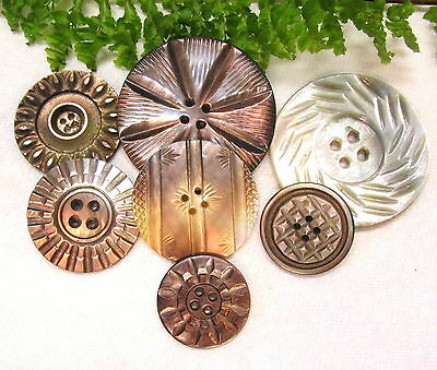 Lustrous Lot Of Antique Carved Pearl Buttons Y65