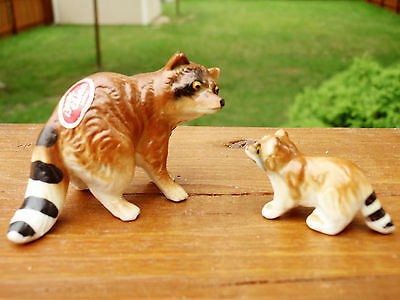 Vtg Mini Miniature Set of 2 Bone China Mother Raccoon with Cub Figurines Japan