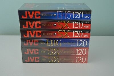JVC VHS Tapes Lot of Six NEW Sealed T-120 SX & T-120 EHG blank