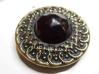 Antique-Vintage Gay 90's Metal Button W/ Red Jewel