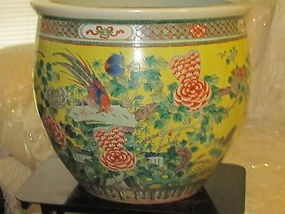 Antique 19thC Chinese Qing Dynasty Porcelain Famille Jaune fish bowl