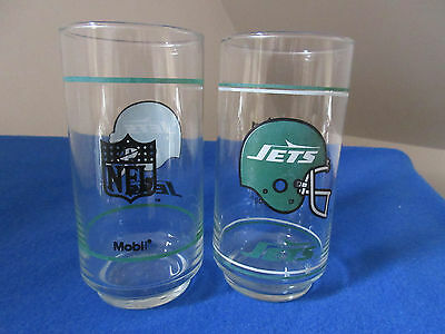 Two New York Jets Glasses from Mobile Vintage 1988 Excellent!