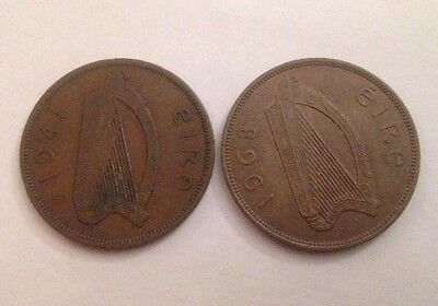 Pair Of Eire One Penny Coins, 1941 And 1968, Collectable!!!!!