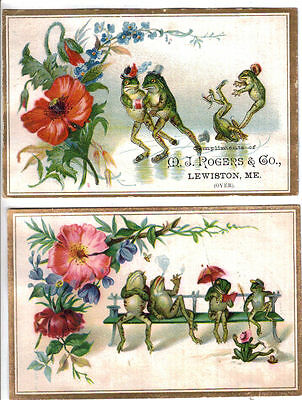Whimsical Frogs Skating Rogers' Inhalant (2) Adv Trade Cards c1880s Lewiston ME