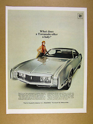 1970 Oldsmobile Toronado silver car photo vintage print Ad