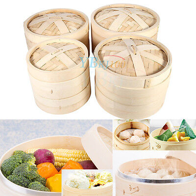 4 Size Bamboo Steamer Set Two Layers + One Lid for Home Kitchen Cookware TP