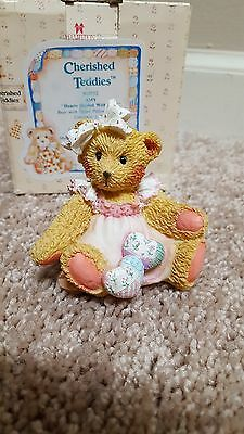 Cherished Teddies Amy Hearts Quilted With Love 910732 girl bear with bow hearts
