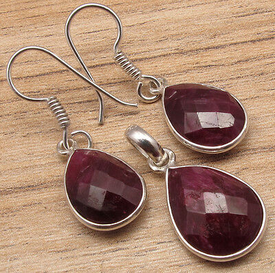 925 Sterling Silver Plated Earrings & Pendant SET ! Hot Selling RUBY Drop Gemset