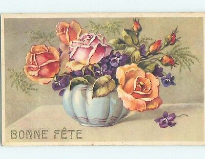 1946 foreign BEAUTIFUL ROSE FLOWERS IN BLUE BOWL HL7479