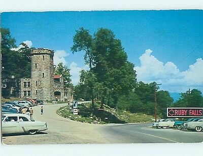 1956 postcard RUBY FALLS SIGN Chattanooga Tennessee TN hn5146