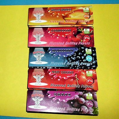 5 Fruit Flavoured Smoking Cigarette Tobacco Rolling Papers 5 Books 250 Leaves.