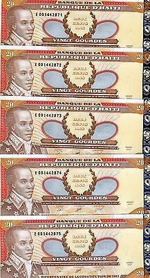 Haiti, 5 x 20 Gourdes, 2001, P-271A-New (2014), Commemorative, UNC