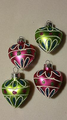 "NEW 1 1/2"" PUFFED HEART ORNAMENTS SET of 4 GLASS pink / green"