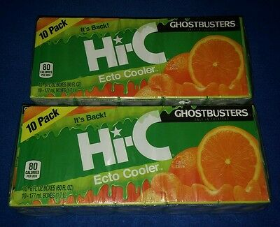 2 Ghostbusters Hi-C Ecto Cooler Juice Boxes 10 Pack Lot New! 2016