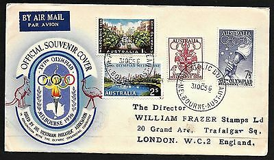 Australia Olympic Stamps Set Cachet FDC First Day Cover to England 1956