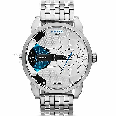 NEW Authentic DIESEL Mens MINI DADDY Silver Stainless Steel Watch DZ7305