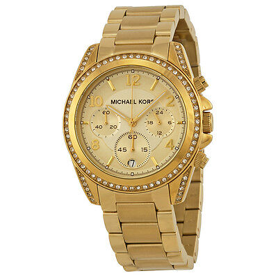 NEW Authentic Michael Kors Runway Glitz Gold Plated Ladies Watch MK 5166