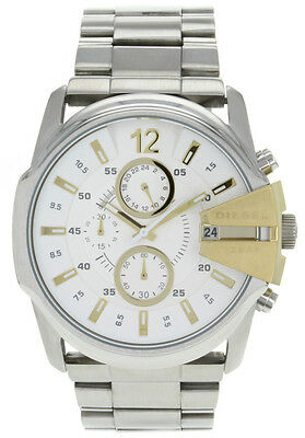 NEW Authentic DIESEL Mens MASTER CHIEF Silver Dial Stainless Steel Watch DZ4265