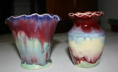two Amanda Pottery Pinched rim vases