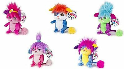 """Set of 5 Popples Pop-Open 8"""" Plush: Bubbles, Izzy, Yikes, Lulu and Sunny"""