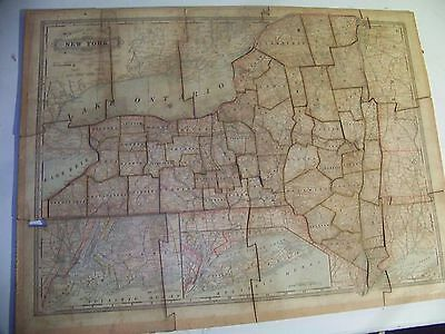 VINTAGE NY Counties & RailRoad Puzzle by George F. CRAM