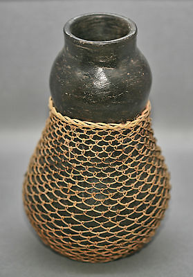 Rustic Very Nice Antique Indonesian Drinking Vessel Wrapped w/ Wicker Netting