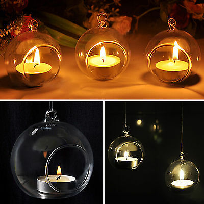 NT Glass Round Hanging Candle Tea Light Holder Candlestick Party Bar Home Decor