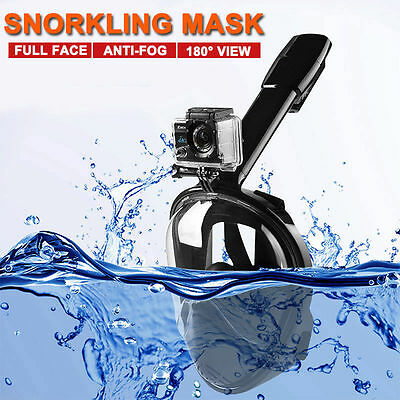 L/XL Swimming Diving Breath Full Face Mask Surface Snorkel Scuba for GoPro Black