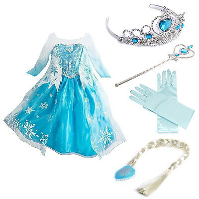 Frozen Dress Elsa Anna Princess Dress Kids Costume Party Fancy Snow&queen+4Sets{