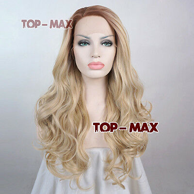 """22"""" Blonde Mixed Brown Long Curly Lace Front Wig Heat Resistant + Wig Cap"""