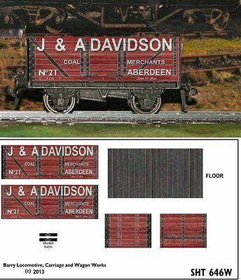 RE-LIFE DECALS FOR HORNBY DUBLO  DAVIDSON OF ABEREDEEN 7 plank WEATHERED