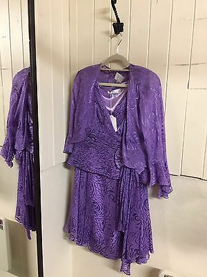 Ladies New Coterie Purple 3 Piece Outfit Size 12 Worth £700