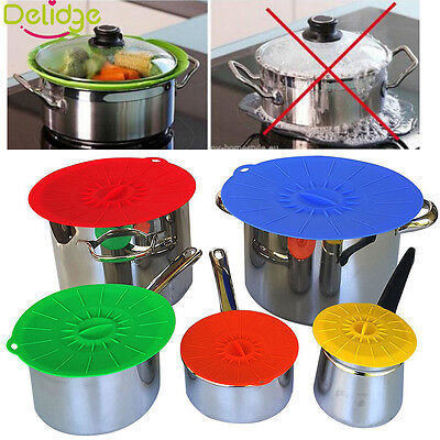 5pcs Silicone Suction Lid-bowl Pan Cooking Pot Cover Spill Stopper Cup Lids