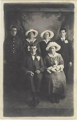 Ww1 Wedding Group - Soldier Guest  Old Photo Postcard