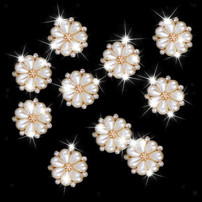 10pcs Rhinestone Pearl Flower Flatback Wedding Embellishment for DIY Craft