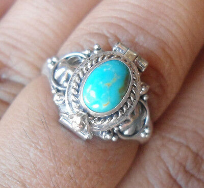 10 x 925  Silver-LF11-Balinese Poison/Wish Locket Ring With Turquoise MIXED SIZE