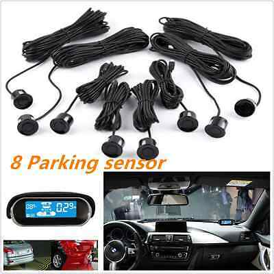 Black Parking 8 Sensor Dual-core Front/Rear LCD Display Car Reverse Backup Radar
