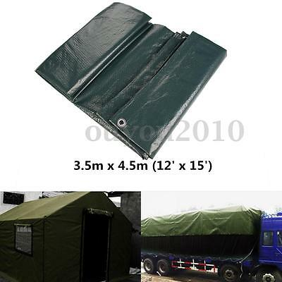 12' x 15' Tarpaulin Ground Sheet Camping Lightweight Dark Green PE Waterproof