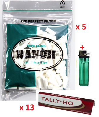 650 x Supa Slim Green Ranch Filter Tips 650 x Tally-Ho Cigarette Rolling Paper