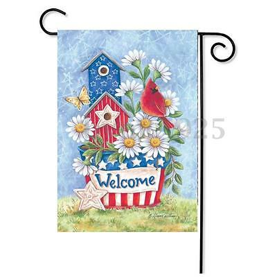 Patriotic Blooms Blossoms Daisies Cardinal Welcome Home Garden Flag 12.5''x18''