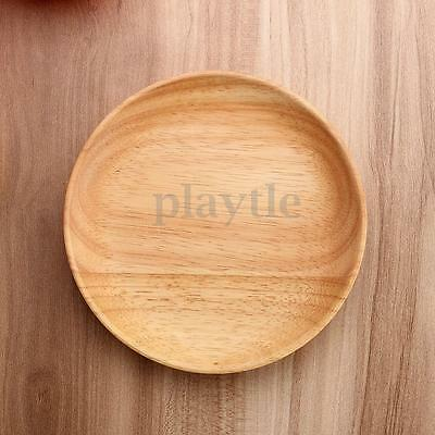 15cm Round Wood Plate Breakfast Food Dish Snack Serving Tray Salad Bowl Platter