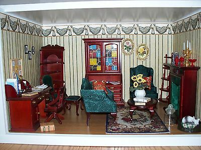 Study Office Dollhouse Miniature Display Room Shadow Box & Accessories Doll
