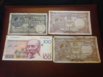High value collection of Belgium francs banknotes