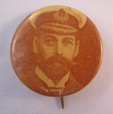 STUNNING KING GEORGE V 23mm EARLY VINTAGE PHOTO TIN BUTTON BADGE