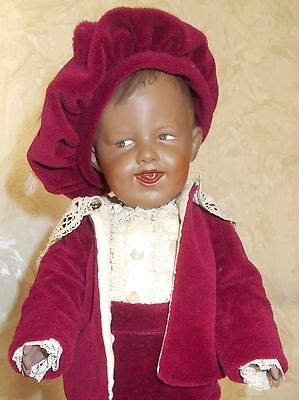 Delightful 14 In Reproduction Heubach Black Mold 7811 Laughing Character Toddler